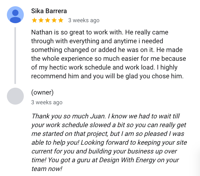 Sika Barrera said Nathan is so great to work with. He really came through with everything and anytime i needed something changed or added he was on it. He made the whole experience so much easier for me because of my hectic work schedule and work load. I highly recommend him and you will be glad you chose him.