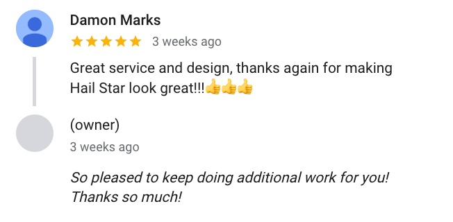 Damon Marks says about Design With Energy: Great service and design, thanks again for making Hail Star look great!!!