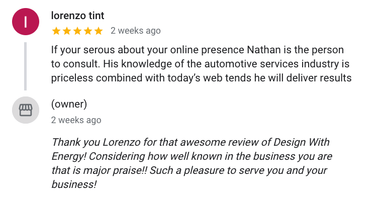If your serous about your online presence Nathan is the person to consult. His knowledge of the automotive services industry is priceless combined with today's web tends he will deliver results